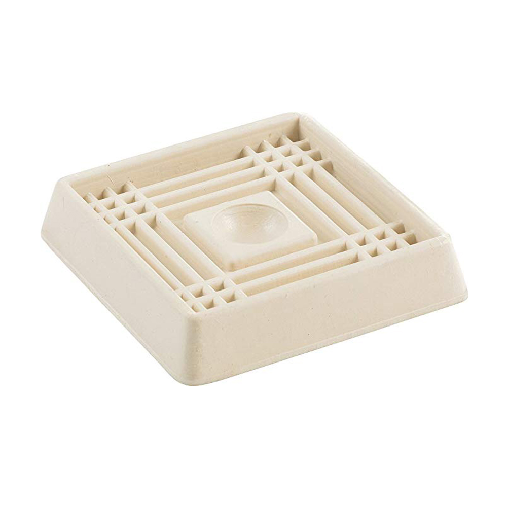 2-inch White Square Rubber Caster Cups