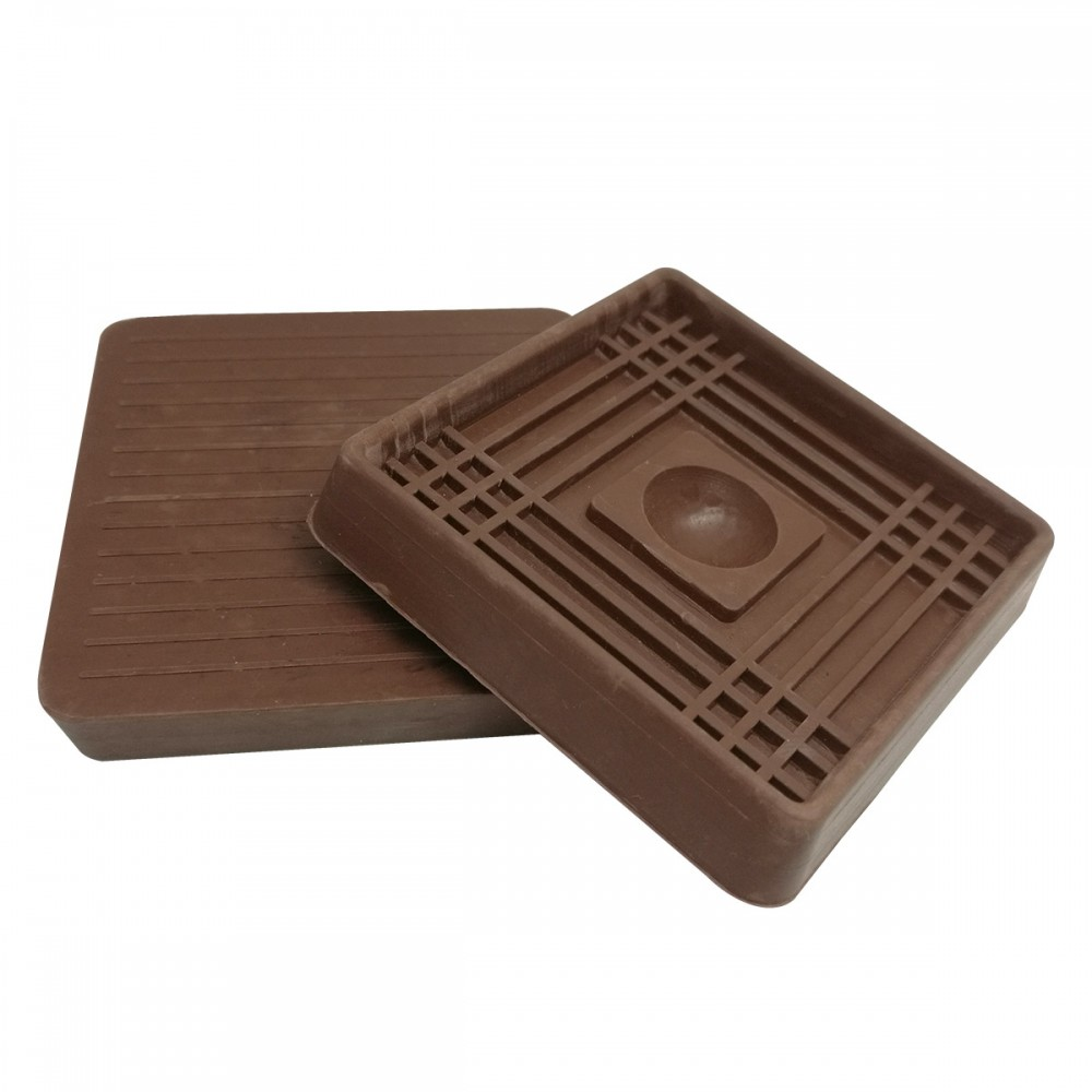 2-inch Brown Square Rubber Caster Cups