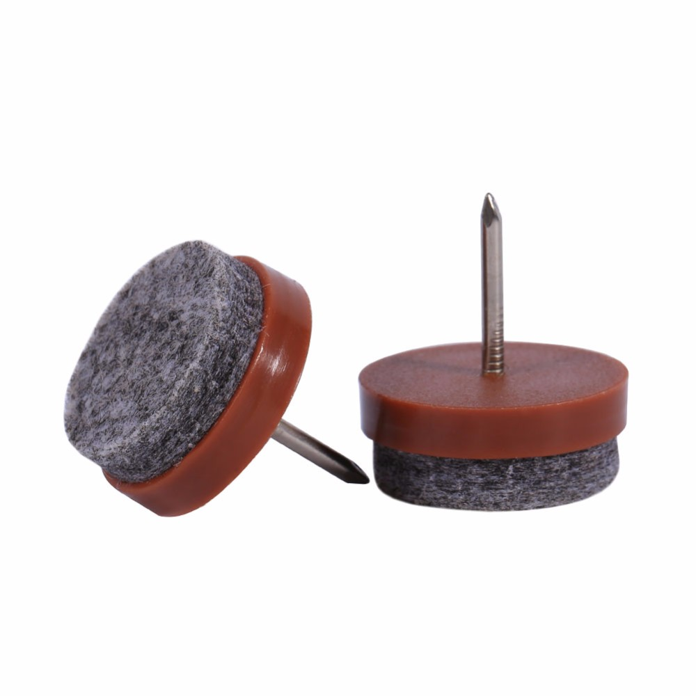 Brown Plastic Felt Furniture Leg Nail-on Pad Slide