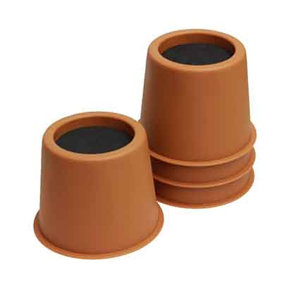 New 3-inch brown round plastic bed leg pads